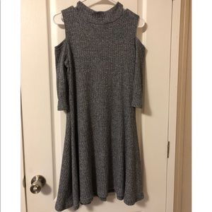 Rebellion Dresses - Gray cold shoulder sweater dress